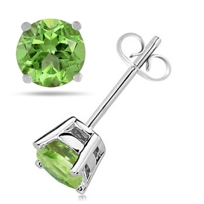 0.5Ct Round Peridot Earrings in 14k White Gold