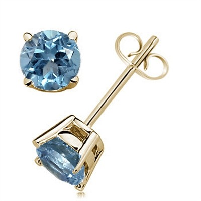 0.92Ct Round Aquamarine Earrings in 14k Yellow Gold