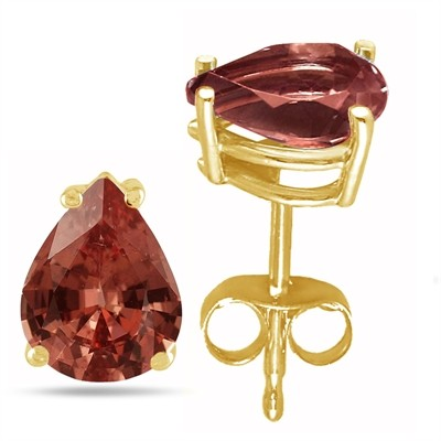 0.9Ct Pear Garnet Earrings in 14k Yellow Gold