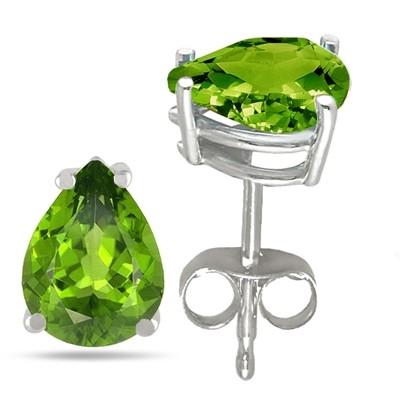 2Ct Pear Peridot Earrings in Sterling Silver