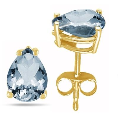 0.6Ct Pear Aquamarine Earrings in 14k Yellow Gold