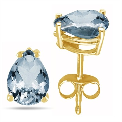 1.2Ct Pear Aquamarine Earrings in 14k Yellow Gold