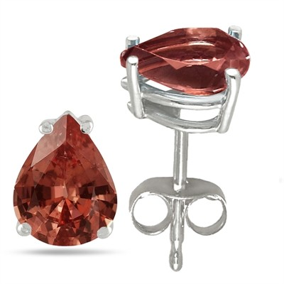 0.9Ct Pear Garnet Earrings in Sterling Silver