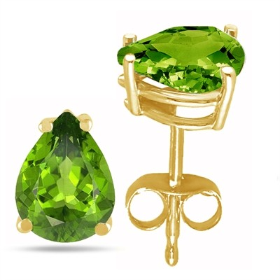 2Ct Pear Peridot Earrings in 14k Yellow Gold
