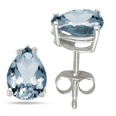 0.6Ct Pear Aquamarine Earrings in Sterling Silver