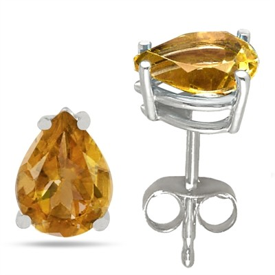 1.5Ct Pear Citrine Earrings in 14k White Gold