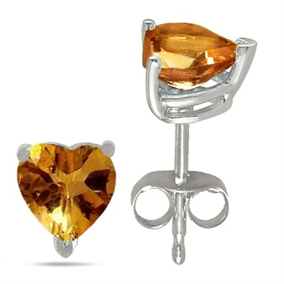 0.5Ct Heart Citrine Earrings in 14k White Gold