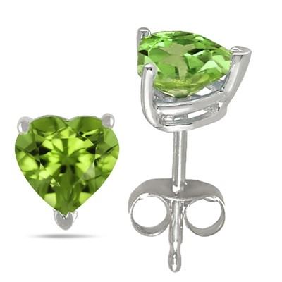 0.9Ct Heart Peridot Earrings in 14k White Gold