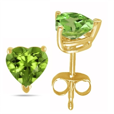 2Ct Heart Peridot Earrings in 14k Yellow Gold