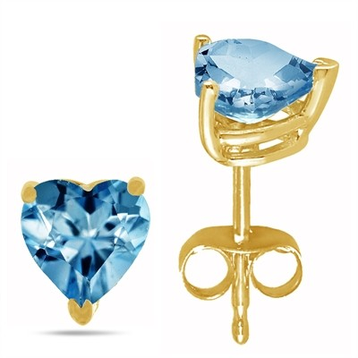 2.04Ct Heart Aquamarine Earrings in 14k Yellow Gold