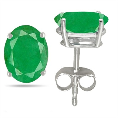 0.88Ct Oval Emerald Earrings in 14k White Gold