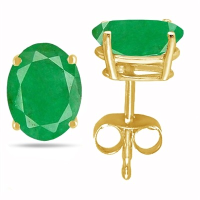 0.88Ct Oval Emerald Earrings in 14k Yellow Gold