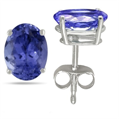 0.86Ct Oval Tanzanite Earrings in 14k White Gold