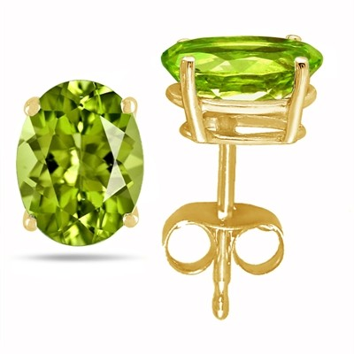 2.4Ct Oval Peridot Earrings in 14k Yellow Gold