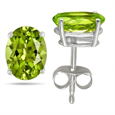 1.5Ct Oval Peridot Earrings in 14k White Gold