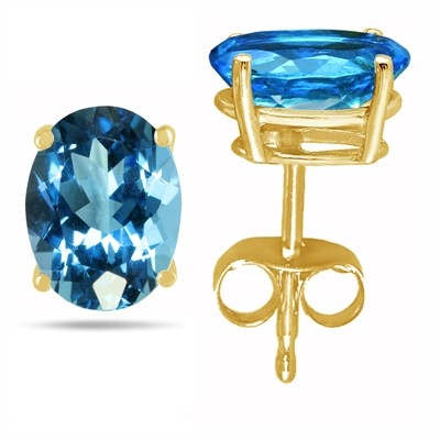 1.1Ct Oval Blue Topaz Earrings in 14k Yellow Gold