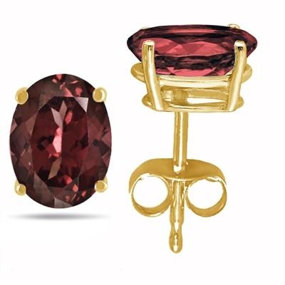 4Ct Oval Garnet Earrings in 14k Yellow Gold