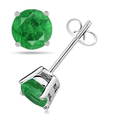 0.86Ct Round Emerald Earrings in 14k White Gold