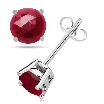 0.84Ct Round Ruby Earrings in 14k White Gold