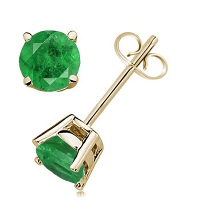 0.86Ct Round Emerald Earrings in 14k Yellow Gold