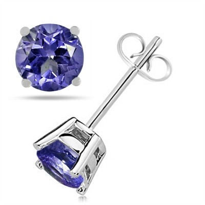 0.86Ct Round Tanzanite Earrings in 14k White Gold
