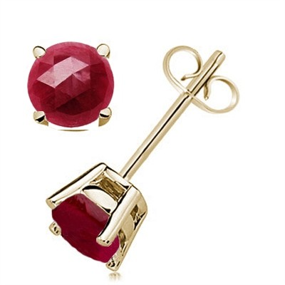 1.2Ct Round Ruby Earrings in 14k Yellow Gold