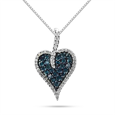 1/2 Ct Blue And White Diamond Heart Pendant In Sterling Silver