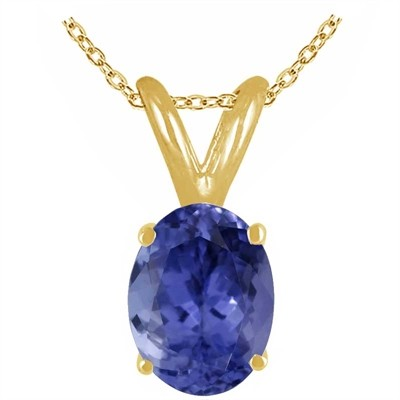 0.20Ct Oval Tanzanite Pendant in 14k Yellow Gold