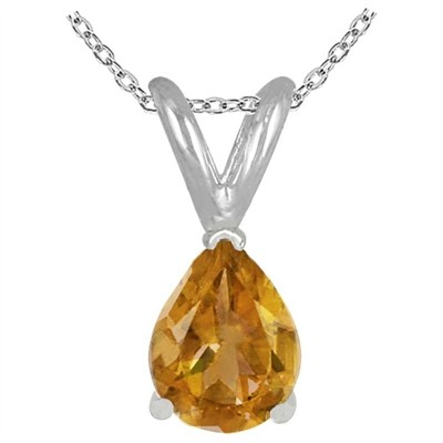 0.20Ct Pear Citrine Pendant in 14k White Gold