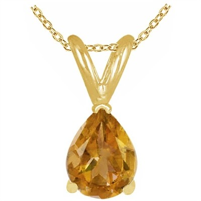0.20Ct Pear Citrine Pendant in 14k Yellow Gold