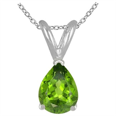 0.20Ct Pear Peridot Pendant in 14k White Gold