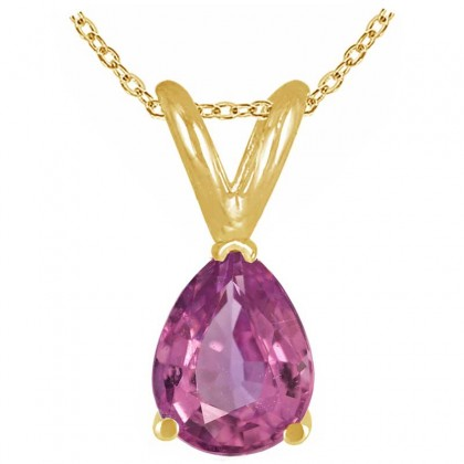 0.20Ct Pear Pink Sapphire Pendant in 14k Yellow Gold