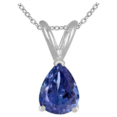0.20Ct Pear Tanzanite Pendant in 14k White Gold