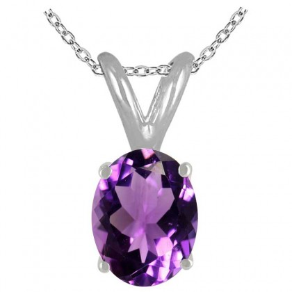 0.22Ct Oval Amethyst Pendant in 14k White Gold