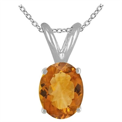 0.22Ct Oval Citrine Pendant in Sterling Silver Gold