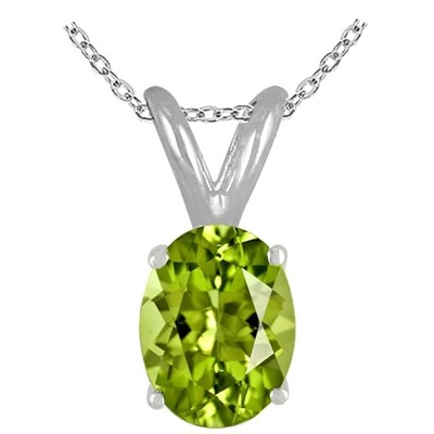0.22Ct Oval Peridot Pendant in 14k White Gold