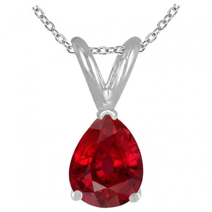 0.22Ct Pear Ruby Pendant in 14k White Gold