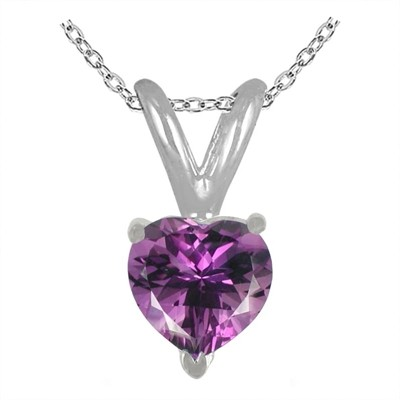 0.25Ct Heart Amethyst Pendant in 14k White Gold