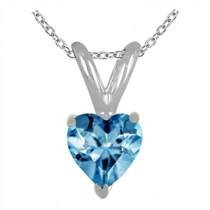 0.25Ct Heart Aquamarine Pendant in 14k White Gold