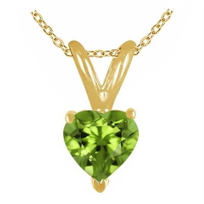 0.25Ct Heart Peridot Pendant in 14k Yellow Gold