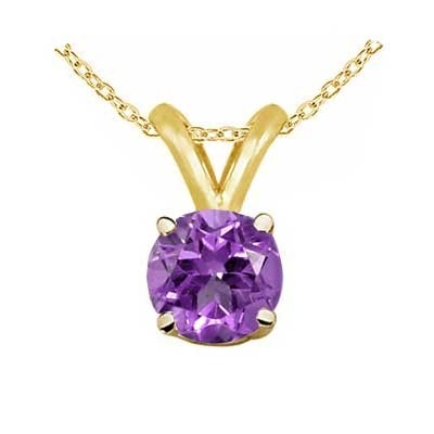 0.25Ct Round Amethyst Pendant in 14k Yellow Gold