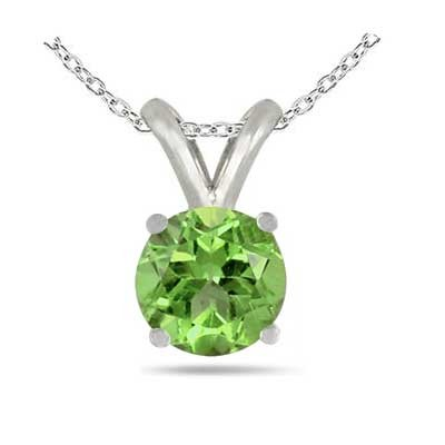 0.25Ct Round Peridot Pendant in 14k White Gold