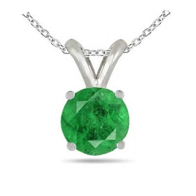 0.28Ct Round Emerald Pendant in 14k White Gold