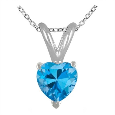 0.30Ct Heart Blue Topaz Pendant in 14k White Gold