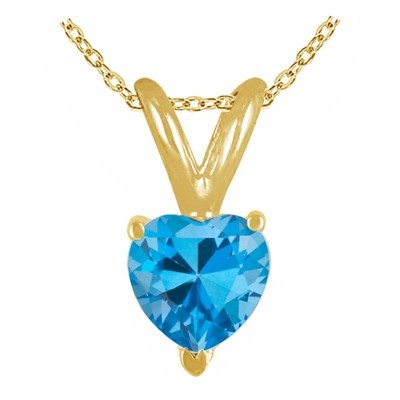 0.30Ct Heart Blue Topaz Pendant in 14k Yellow Gold