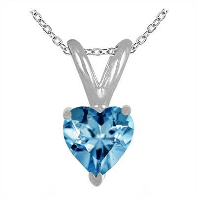 0.35Ct Heart Aquamarine Pendant in 14k White Gold