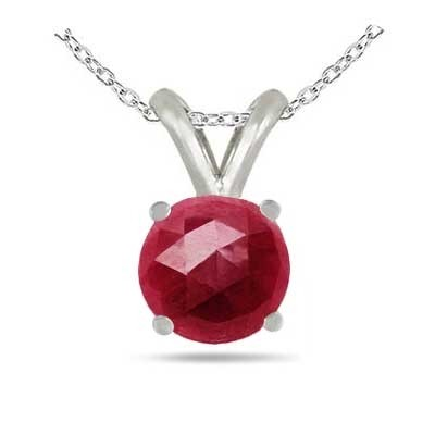 0.42Ct Round Ruby Pendant in Sterling Silver Gold