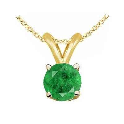 0.43Ct Round Emerald Pendant in 14k Yellow Gold