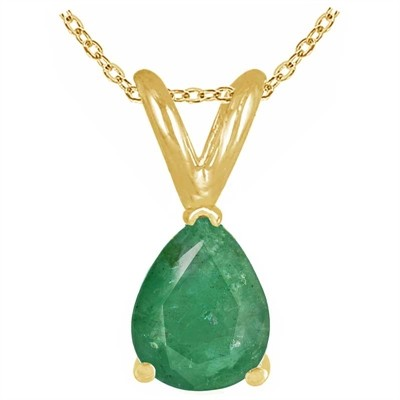 0.44Ct Pear Emerald Pendant in 14k Yellow Gold