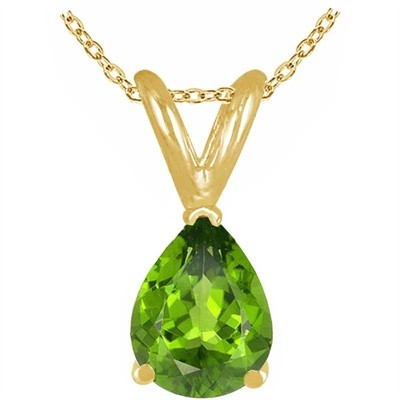 0.45Ct Pear Peridot Pendant in 14k Yellow Gold